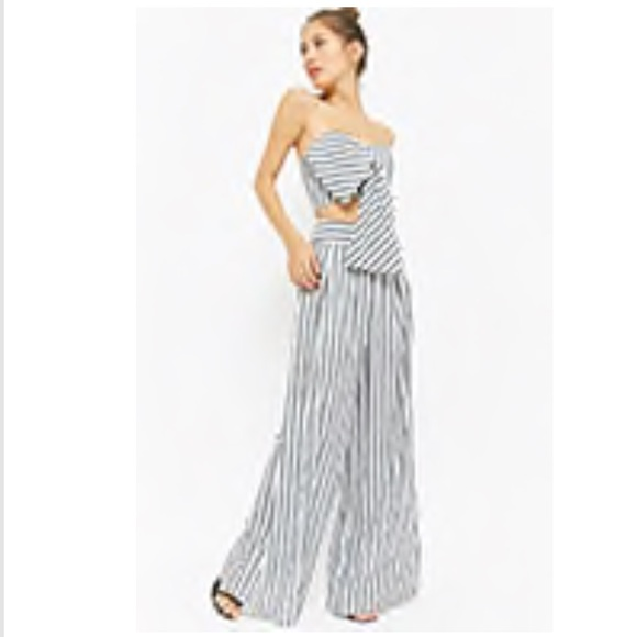 c3da4448ab0 latiste Dresses | Striped Tiefront Crop Tube Top Palazzo Pants Set ...